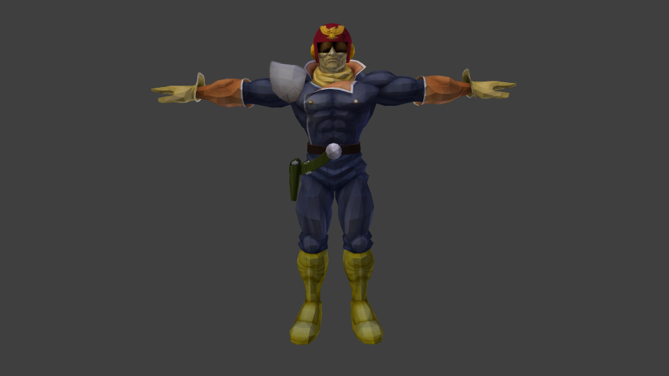 Melee Captainfalcon Tpose on pictures of body parts