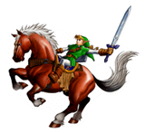 Brawl Sticker Epona & Link (Zelda Ocarina of Time).png