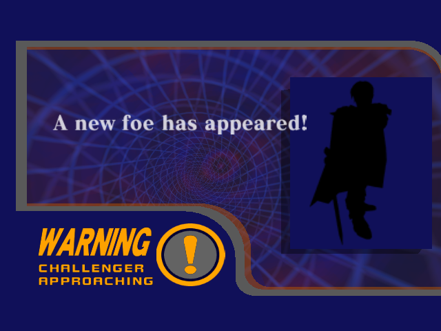 A secret character battle warning screen in Melee, with a silhouette of the fighter. Upon closer inspection, you can notice that it's Marth.