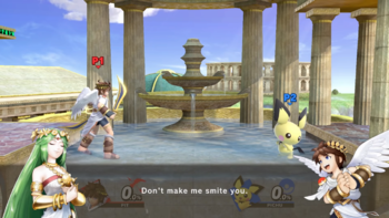 Palutenas Guidance During A Match Between Pit And Palutena
