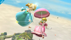 Peach using her parasol in Smash 4