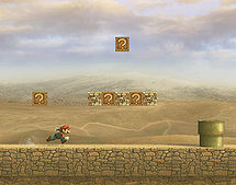 Mario running through the level.