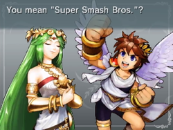 Pit And Palutena Discussing Super Smash Bros In Kid Icarus Uprising