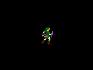 Link standing on DUMMY's lone invisible platform.